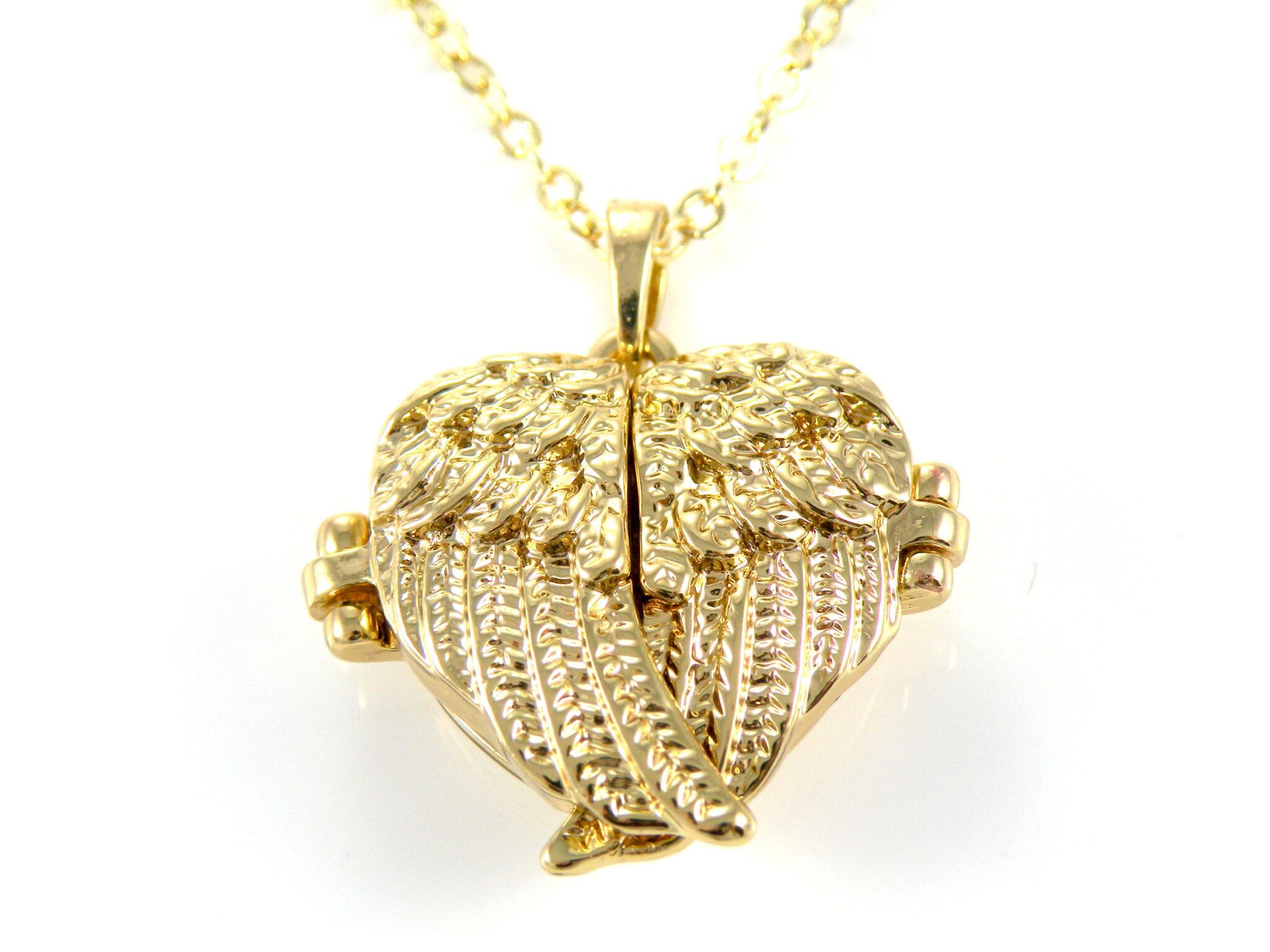 Crossed Angel Wings Locket Silver Gold The Treasure Box